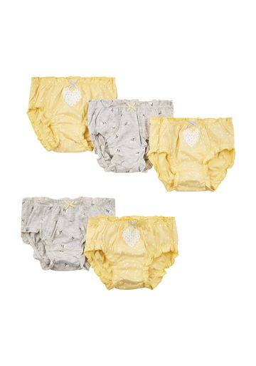 Mothercare | Girls Floral Briefs - 5 Pack - Yellow
