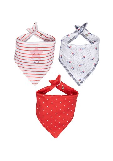 Mothercare | White and Red Printed Bibs - Pack of 3