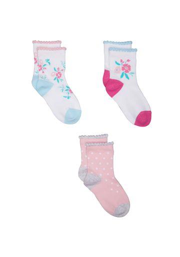 Mothercare   Girls Floral Socks - 3 Pack - Multicolor