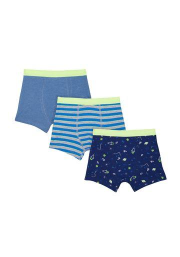 Mothercare | Boys Rocket Trunks - 3 Pack - Blue