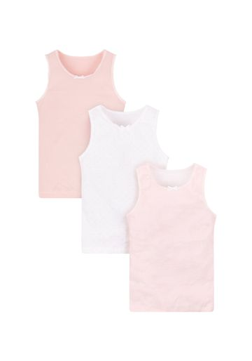 Mothercare | Girls Pink And White Vests - 3 Pack - Multicolor