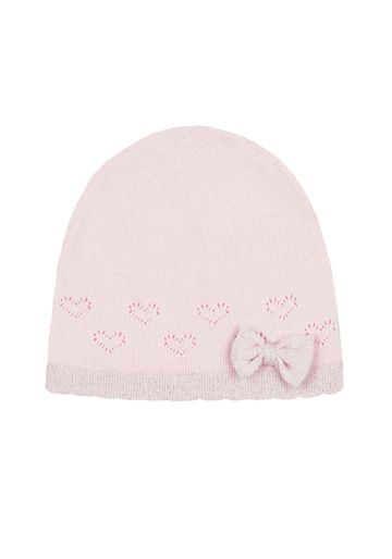Mothercare | Girls Pink Bow Pointelle Beanie Hat - Pink