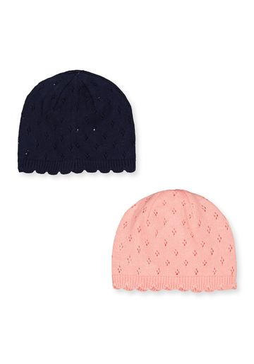 Mothercare | Girls Pink And Blue Knitted Hats - 2 Pack - Multicolor