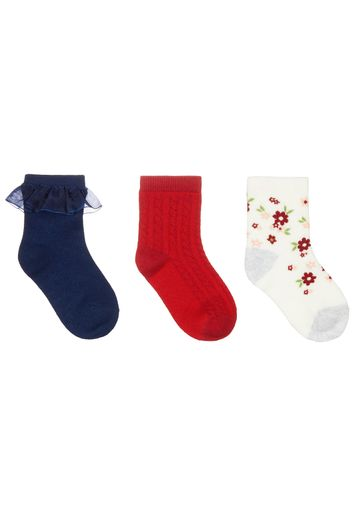 Mothercare | Girls Floral, Navy And Red Baby Socks - 3 Pack - Multicolor