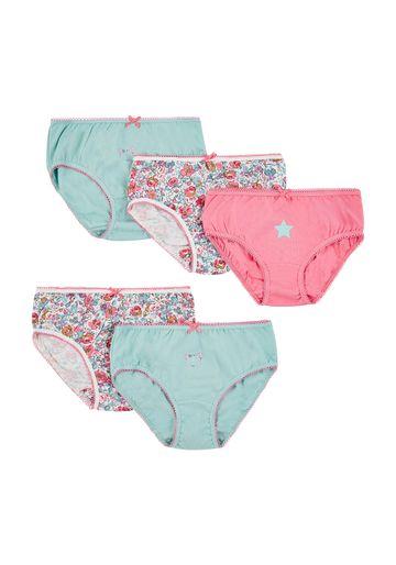 Mothercare | Girls Teddy Bear Briefs - 5 Pack - Aqua