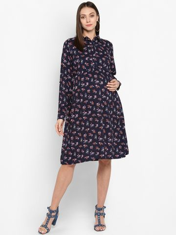 Mothercare   Women Maternity Full Sleeves Printed Dress  - Multicolor
