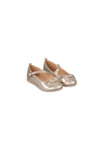 Mothercare | Girls Sparkly Gold Bow Ballerina Shoes - Gold