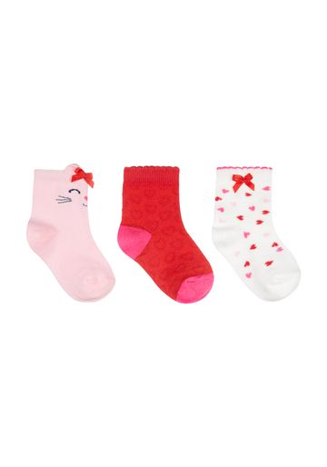 Mothercare | Girls Cat And Heart Socks - 3 Pack - Multicolor