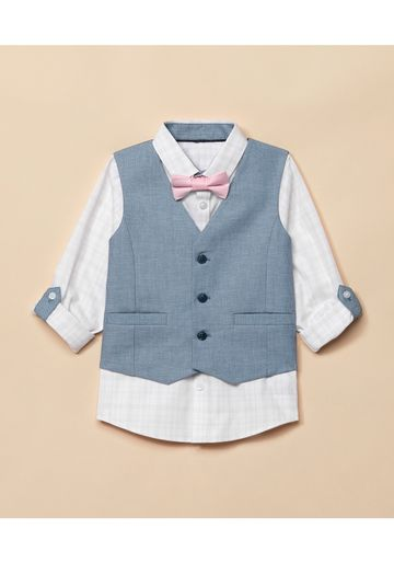 Mothercare | Boys Full Sleeves Shirt With Waistcoat - White Blue