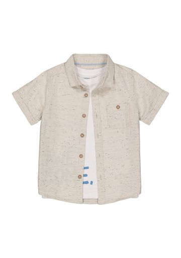 Mothercare   Boys Half Sleeves Shirt And T-Shirt Set Text Print - Beige White