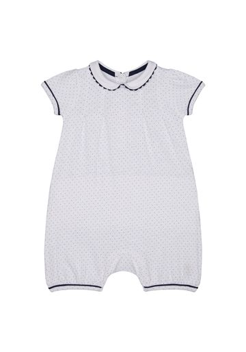 Mothercare   Girls Half Sleeves Romper Polka Dot Print With Lace Details - White