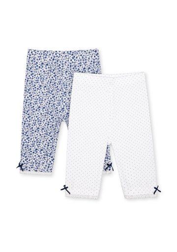 Mothercare | Girls Leggings Floral Print - Pack Of 2 - Navy White