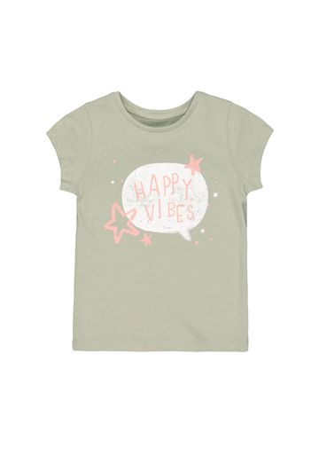 Mothercare | Girls Half Sleeves T-Shirt Text Print - Green