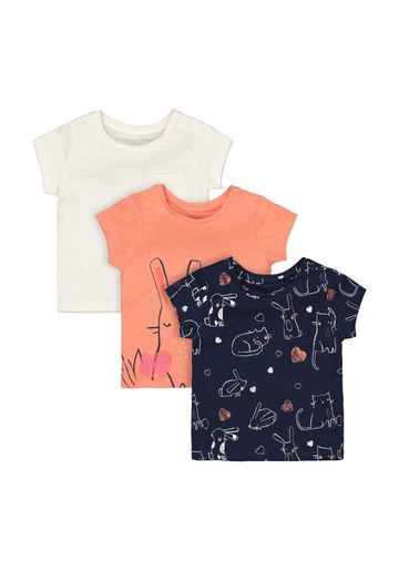 Mothercare | Girls Bunny And Cat T-Shirts - 3 Pack - Multicolor