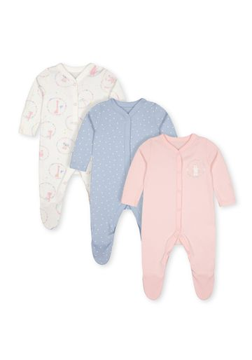 Mothercare | Girls Sleepsuit Circus Print - Pack Of 3 - Blue Pink White