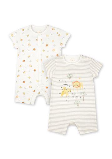 Mothercare | Unisex Half Sleeves Lion Print Romper - Pack Of 2 - Beige