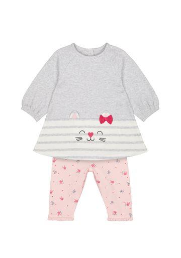Mothercare   Girls Full Sleeves Dress And Legging Set 3D Cat Details - Grey Pink