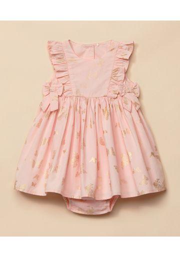 Mothercare   Girls Sleeveless Butterfly Print Dress - Pink