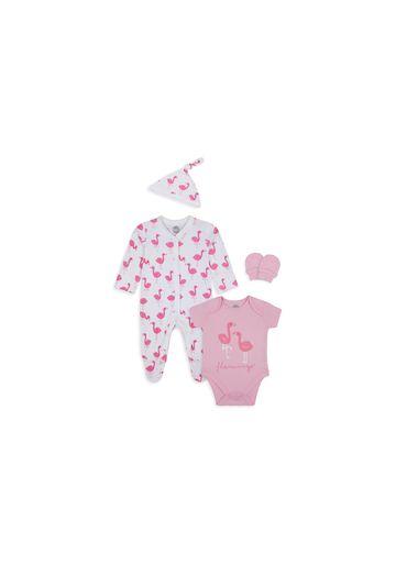 Mothercare | Girls 4 Piece Set Flamingo Print - Pink White