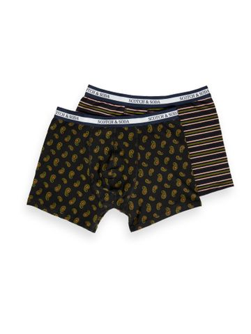 Scotch & Soda | 2-pack boxer shorts with all-over print and yarn-dyed stripe
