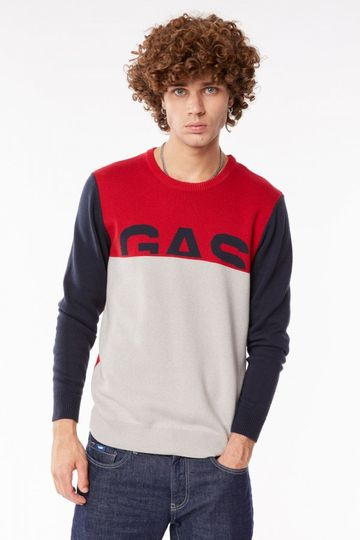 GAS | Deep Red Men's Edvin/R Colour Block Sweater