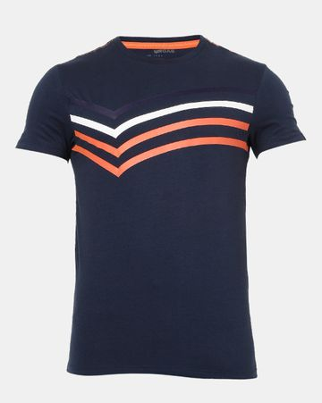 GAS | Men's Scuba Bb In Navy Blue Printed T-shirt