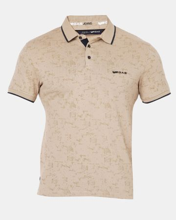 GAS | Men's Jhonny In Beige All Over Printed Polo