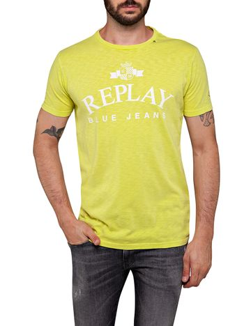 REPLAY | Cedar Yellow garment dyed slub jersey T Shirt