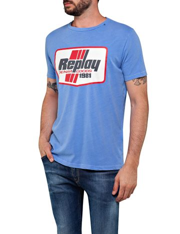REPLAY | Avion Blue Printed T-Shirt