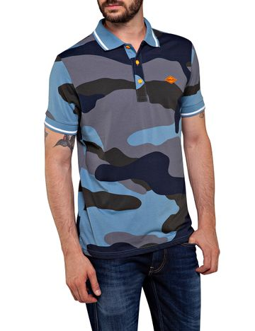 REPLAY | Blue and Grey Camouflage Polo T-Shirt
