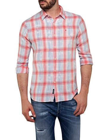 REPLAY | White and Red Checked Casual Shirt