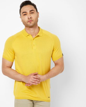GAS | Men's Ryce S/S In Yellow Solid Polo