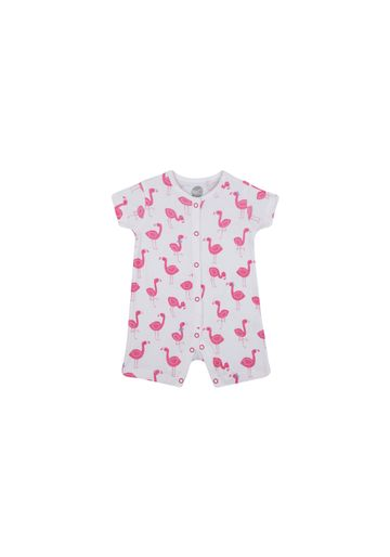 Mothercare | Girls Half Sleeves Romper Flamingo Print - White