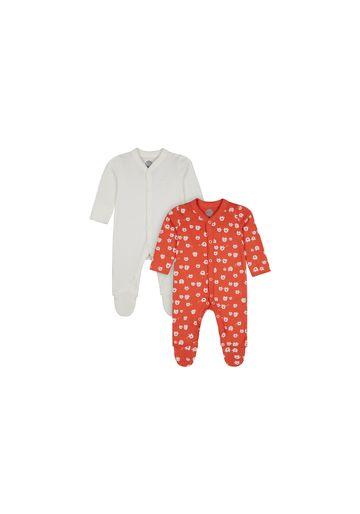 Mothercare | Unisex Full Sleeves Romper Elephant Print - Pack Of 2 - Orange Cream