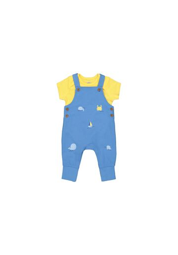 Mothercare | Boys Half Sleeves Dungaree Set Whale Print - Yellow Blue