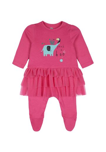 Mothercare | Girls Full Sleeves Frock Style Romper Elephant Print - Pink