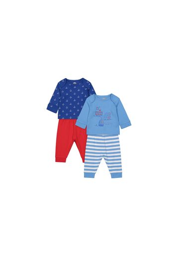 Mothercare   Boys Full Sleeves Pyjamas Anchor And Boat Print - Pack Of 2 - Blue Red