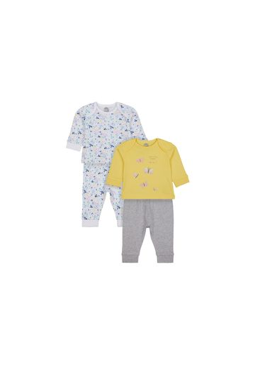 Mothercare   Girls Full Sleeves Pyjamas Floral And Butterfly Print - Pack Of 2 - Yellow White