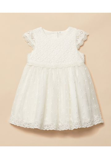 Mothercare | Girls Half Sleeves Lace Mesh  Dress - White