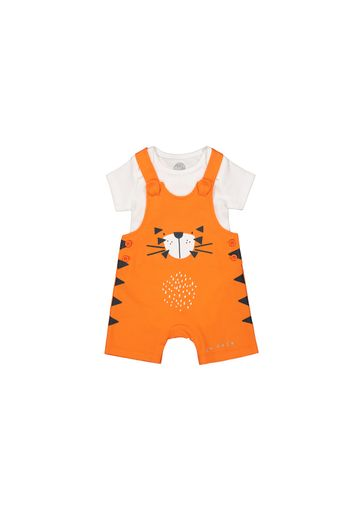 Mothercare | Boys Half Sleeves Dungaree Set Tiger Print With 3D Ears - Orange White