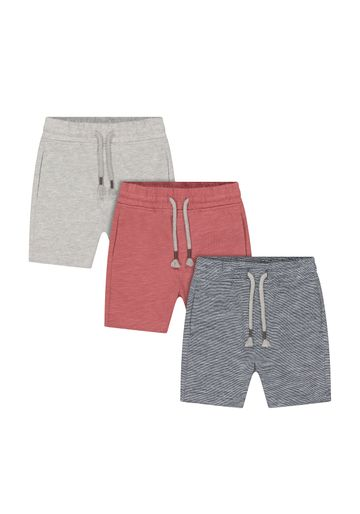Mothercare | Boys Shorts Stripe And Boat Print - Pack Of 3 - Grey Red