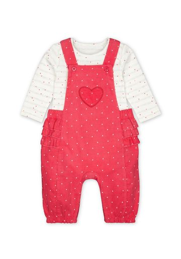 Mothercare | Girls Full Sleeves Cord Dungaree Set Polka Dot Print With Frill Details - Pink White