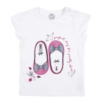 Mothercare   Girls Half sleeves Shoe print T-shirt - White