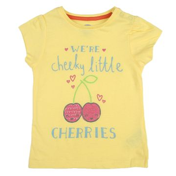 Mothercare | Girls Half sleeves Cherry print T-shirt - Yellow