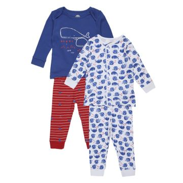 Mothercare | Boys Full sleeves Whale print Pyjamas - Pack of 2 - Blue red