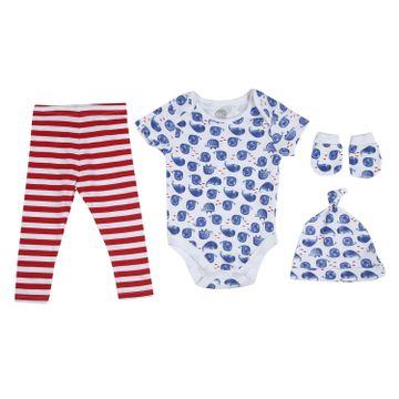 Mothercare | Boys Half sleeves Whale print 3 piece set - White