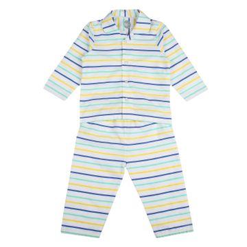 Mothercare | Unisex Full sleeves Striped Pyjamas - White
