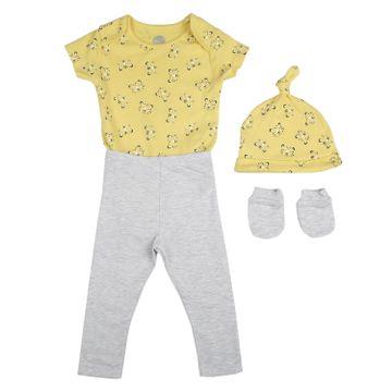 Mothercare | Boys Half sleeves Lion print 3 piece set - yellow