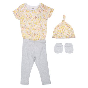 Mothercare | Girls Half sleeves Butterfly print 3 piece set - Yellow