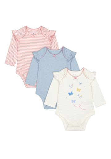 Mothercare | Girls Full Sleeves Bodysuit Striped And Printed - Pack Of 3 - Multicolor